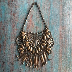 Express BrassGold Geometric Statement Bib Necklace